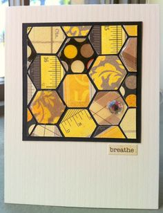 The honey colors of this hexagon block remind me of a bee's honeycomb...