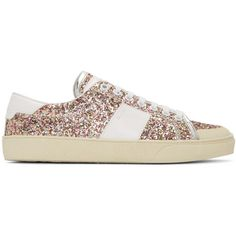 Saint Laurent Multicolor Court Classic SL-37 Surf Glitter Sneakers (4,280 EGP) ❤ liked on Polyvore featuring shoes, sneakers, multicolor, leather lace up shoes, leather trainers, colorful sneakers, rubber sole shoes and lace up sneakers
