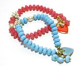 Turquoise Bracelet with Enameled Heart