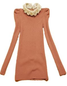 Dark Pink Lace Lapel Long Puff Sleeve Beading Sweater