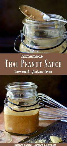 Easy Thai peanut sauce recipe is low carb and gluten free! The homemade sauce is a keto friendly sauce that fairly dances across your tastebuds. Easy Thai Peanut Sauce, Peanut Sauce Recipe, Sauce Recipes, Keto Sauces, Low Carb Sauces, Thai Cooking, Cooking Recipes, Healthy Cooking, Dips