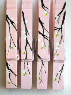 Cherry blossom hand painted clothespins