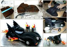 This is a quick photo tutorial for the making of the Dark Night 3D Car cake