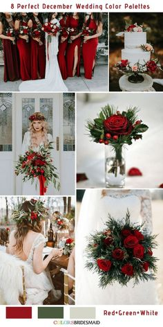 8 perfect December wedding color palettes red green and white . 8 Perfect December Wedding Color Palettes Red, Green, and White December Wedding Colors, Winter Wedding Colors, Winter Wedding Inspiration, Red Winter Weddings, Wedding Ideas With Red, Green Weddings, Winter Bride, Wedding Ideas For Winter, Romantic Weddings