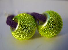 neon yellow purple earrings cyber jewelry pandora by MageStudio, $16.70