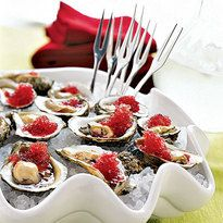 A fun way to serve oysters on the half shell