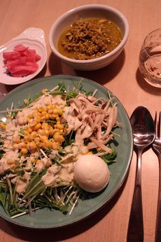 dinner on Thu. 5 Mar. 2015: beef curry with tofu, Shirataki, Japanese leek, Mizuna salad with corn, king trumpet mushroom & boiled egg, pickled red radish dessert: raisin wich & buckwheat tea