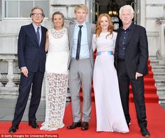 Film friends: Bill Nighy, Margot Robbie, Domhnall Gleeson, Rachel McAdams and director Richard Curtis Sheer Dress, White Dress, Wrath Of The Titans, Richard Curtis, Bill Nighy, Domhnall Gleeson, Guide To The Galaxy, Love Actually, Rachel Mcadams