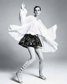 Stella Tennant in Chloe Full-Sleeve Flounce Blouse & Folkloric Patched Lace Skirt, photographed by Luigi & Iango