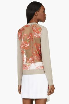 Jonathan Saunders Taupe & Red Embroidered Poppy Sheer-Back Sweater