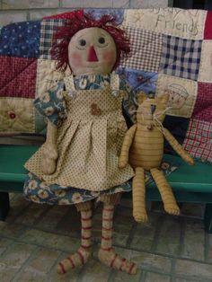 Judy Primitive Raggedy Doll Loretta and Jo Jo the Cat PMNL $4.50