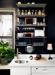 Black paint kitchen.