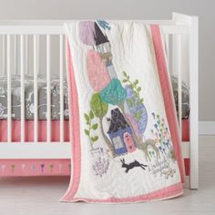 Once Upon a Crib Bedding    The Land of Nod--- love the woodland theme. Hope Crate and Barrel bring back the quilt