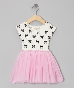 Loving this White & Pink Bow Dress - Infant, Toddler & Girls on #zulily! #zulilyfinds