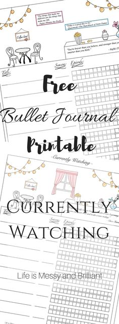 FREE bullet journal printables and PDF templates to help you organize your planner. Each bullet journal printable is filled with colorful images and flowers to add a touch of feminity to your planner. Bullet Journal Tracker, Bullet Journal Netflix, Digital Bullet Journal, Bullet Journal Printables, Bullet Journal How To Start A, Journal Template, Bullet Journal Junkies, Bullet Journal Layout, Bullet Journal Inspiration