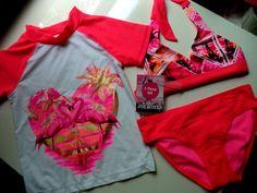 Girls Joe Boxer 3-piece swimsuit.Size 6X protection UPF40 2 Piece Bikini &…