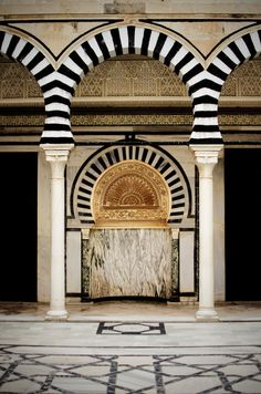 Patterns-stripes, Mihrab in a mosque, Al Qayrawan, Tunisia, black and white arch on Building Islamic Architecture, Art And Architecture, Beautiful Mosques, Place Of Worship, North Africa, Kirchen, Islamic Art, Belle Photo, Around The Worlds