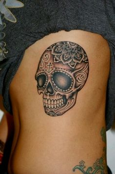 Love the anchor detail on the forehead...im super into nautical tattoos, plus love sugar skulls bc I ♡ latino art and  culture