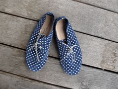 blue polka dot shoes from Anniel