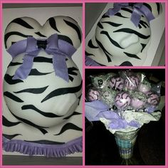 Baby Bump Cake for a Lavender and Zebra Print Baby Shower in Vanilla Bean and coordinating Cakepops in Pink Moscato.