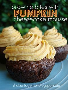 four fantastic pumpkin desserts . fall recipe rewind Four fantastic pumpkin desserts: Mini pumpkin pie croissants, pumpkin layer dessert, pumpkin spice petit fours, brownie bites with pumpkin cheesecake mousse Fall Desserts, Just Desserts, Delicious Desserts, Dessert Recipes, Yummy Food, Mini Desserts, Brownie Recipes, Dessert Ideas, Pumpkin Dessert