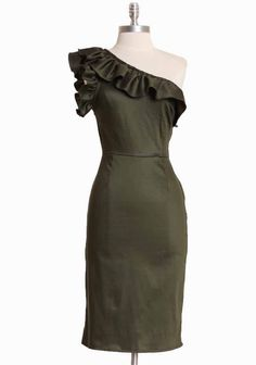 Beautiful!  Gigi One Shoulder Ruffle Dress In Dark Olive By Queen Of Heartz 129.99 at shopruche.com.