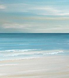 Beach seascape painting print  Blue Coastal Ocean by FradetFineArt, $40.00