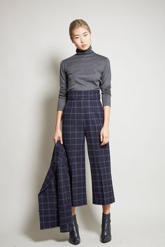 No.6 Dietrich Cropped Pant in Navy Windowpane Wool