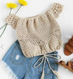 Shop Off Shoulder Tasseled Drawstring Hem Hollow Out Crochet Top online. SheIn offers Off Shoulder Tasseled Drawstring Hem Hollow Out Crochet Top & more to fit your fashionable needs. crochet blouses 20 Gorgeous Off The Shoulder Tops You Need Right Now - Débardeurs Au Crochet, Crochet Shirt, Crochet Crop Top, Crochet Stitches, Crochet Baby, Crochet Bikini, Crochet Girls, Crochet Tops, Crochet Bodycon Dresses
