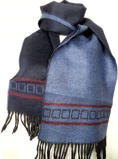 Scarf - Cashmere Men's Scarf - Dark Blue and Blue Scarf - Wool Men's Scarf - B10201 #handmadeatamazon #nazodesign