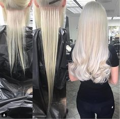 Before During and After hair extension applications are our favorite! It really shows off the power of this industry and the skills it takes to be successful. Just look at that transformation by using Color 60 Keratip hair extensions. Micro Bead Hair Extensions, Hair Extensions Tutorial, Tape In Hair Extensions, Blonde Hair Extensions Before And After, Fusion Extensions, Eyelash Extensions, Cabelo Com Mega Hair, Platinum Blonde Hair, Remy Human Hair
