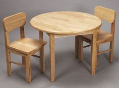 Buy Giftmark Solid Wood Childrens Round Table & Chair Set Natural at UnbeatableSale Kids Table Chair Set, Round Table And Chairs, Wooden Table And Chairs, Kid Table, Dining Table, Wooden Childrens Table, Wooden Toys, Glass Top End Tables, Kids Bedroom Furniture