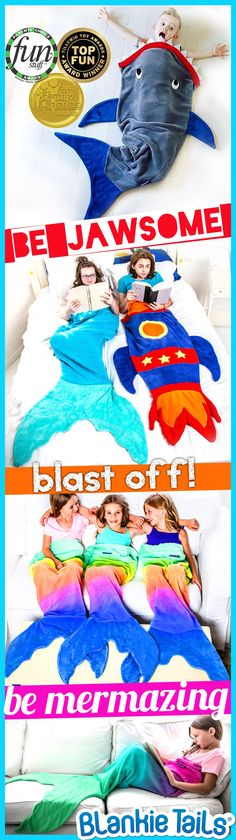 Climb inside Blankie Tails® blankets and pretend you're Ariel from the little mermaid, a Jawsome shark, or blast off in our NEW Rocket Blankie Tails®! Made of premium , super soft, plush, minky fleece, Blankie Tails are the perfect gift for children of all ages and proud winner of The Parents' Choice, Tilly Wig and Family Choice Awards. #thesnuggleisreal