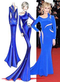 Left: Donatella Versace's sketch for the star. Right: Jane Fonda at the 2015 Cannes Film Festival.