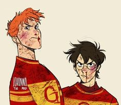 Harry and George Harry Potter Comics, Harry Potter Drawings, Harry Potter Fan Art, Harry Potter Universal, Harry Potter Fandom, Harry Potter World, Harry Potter Memes, Harry Potter Sempre, Hogwarts