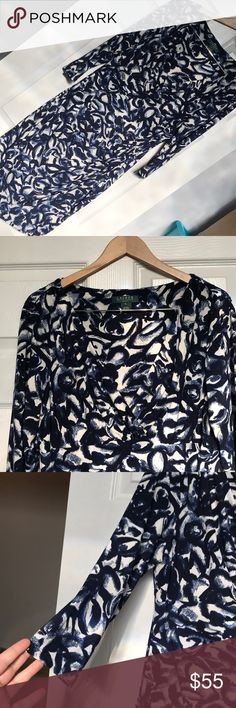 Lauren Ralph Lauren Faux Wrap V-Neck Ruched Dress Lauren Ralph Lauren blue and w. Ruched Dress, Pattern Mixing, Soft Fabrics, Casual Outfits, Ralph Lauren, Blue And White, Sparkly Jewelry, V Neck, Plus Fashion