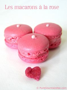 rose petal macaron recipe (in french) YUM! I just ate some of these in the Upper East Side and I am now obsessed with french macarons!