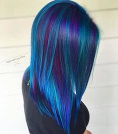 Beautiful Dark Blue and Dark Purple Hair Color ❤ Purple and blue hair hair styles are all the rage, especially now when the hot season is approaching and we wish to experiment with the hair color. Beautiful Hair Color, Cool Hair Color, Peacock Hair Color, Galaxy Hair Color, Beautiful Beautiful, Blue Wig, Pink Wig, Mermaid Hair, Mermaid Makeup