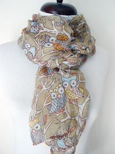 Beige owl scarf autmn scarf unique gifts cotton scarf printed