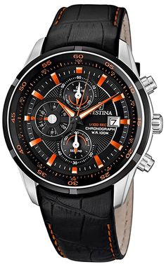 Montre Festina Cuir Noir - Quartz Chronographe Date - Bracelet en Cuir Noir - Cadran en Acier inoxydable Noir et Argent