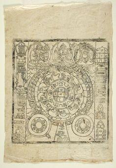 Buddhist Printing Woodblock (a), and Woodblock Print of Astrological Chart and Talisman (b) Tibetan Mandala, Tibetan Buddhism, Christian Marclay, Southeast Asian Arts, Buddhist Symbols, Frank Stella, Museum Exhibition, Japanese Artists, Woodblock Print