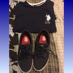 Van shoes n shirt Dark blue and white vans with polo uspa shirt nwot 12 shoes still in good condition Vans Shoes Sneakers