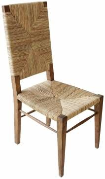 Stewart Teak and Seagrass Dining Chair with Woven Seat and Back  Also Available in Smaller Size