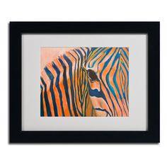 Orange Zebra by Judy Harris Matted Framed Painting Print