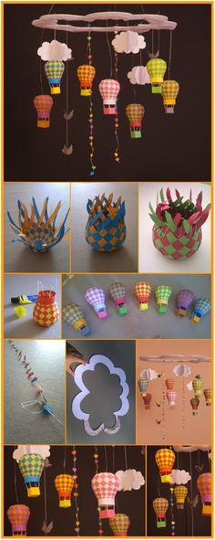 DIY : Mobile bébé Joli mobile pour bébé fait maison ! Nuage en carton pour le support, montgolfières en papier ( http://papermatrix.dk/2012/02/25/mobile-001-balloon/ ), guirlandes de cœurs, nuages et oiseaux. Demande beaucoup de patience mais donne un super résultat ! :)