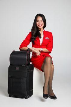 cute crew #thaiairasia #crew | crew portrait | cabin crew uniform | flight attendant | by napasstudio | Air Hostess Uniform, Airline Uniforms, Military Women, Cabin Crew, Flight Attendant, Asian Woman, Lady In Red, Asian Beauty, Dame