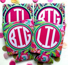 Big Little Koozies. Great Big little sorority gifts! Spoil your little with these colorful lilly koozies!