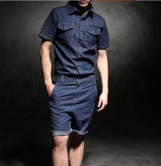 40e42bcb9a11 Details about Overalls Short Suits HOT Men One Piece Jeans Jumpsuits  Trousers Denims Dungarees