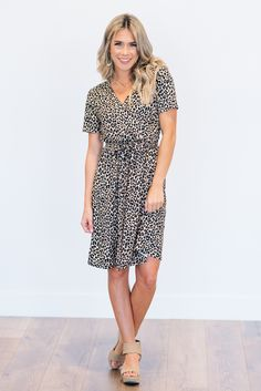 Animal Print Tie Waist Midi Dress All over animal print dress with a surplice front, and tie waist detail! Animal Print Dresses, Online Clothing Boutiques, Lounge Pants, Boutique Clothing, Spring Summer Fashion, Dress To Impress, Casual Outfits, Short Sleeve Dresses, Women's Fashion