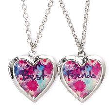 Best Friends Flower Heart Shaped Locket Pendants